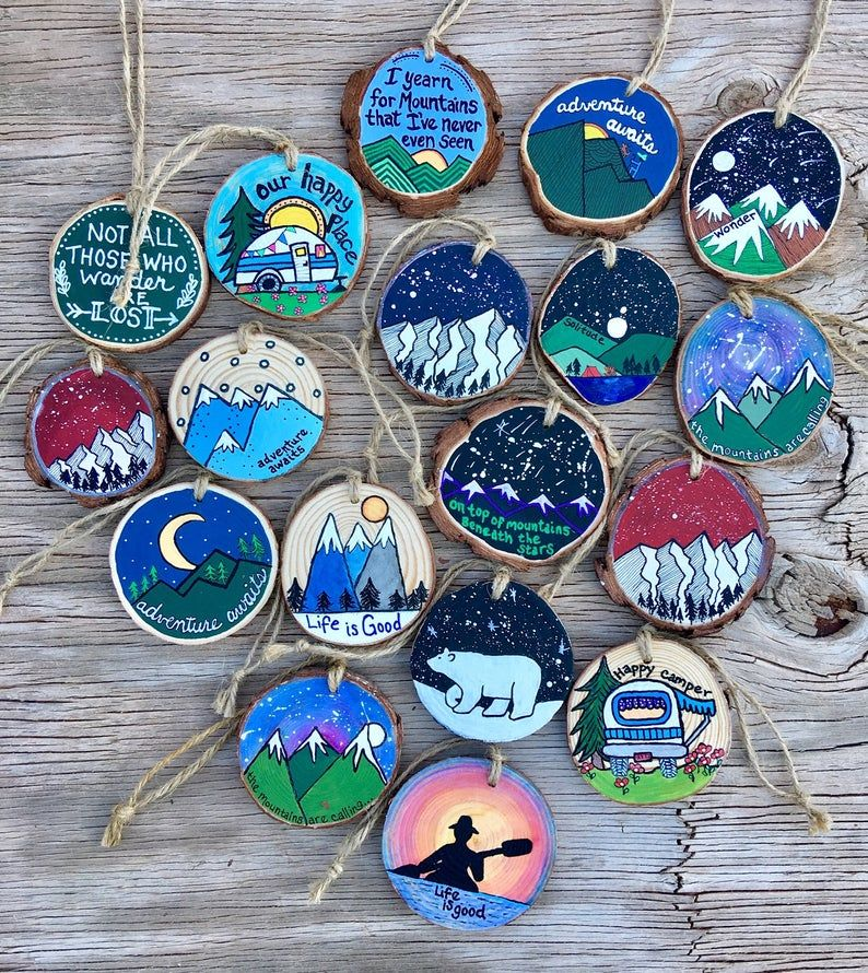 Hand Painted Rustic Wood Slice Ornaments All Occas