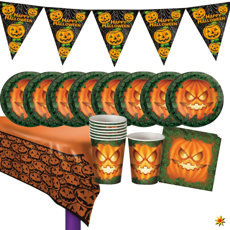 Party-Set Halloween für 8 Personen, 38 Teile #happyhalloweenschriftzug