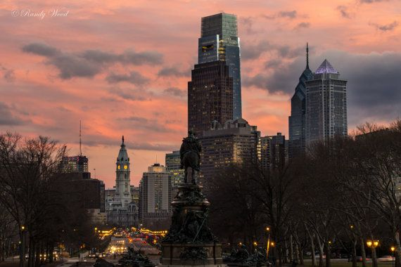 Sunset Over Ben Franklin Parkway -  Philadelphia Photography -  Fine Wall Art - Urban Print