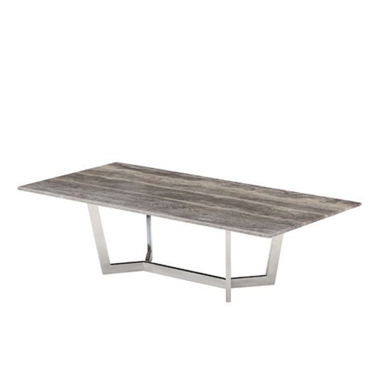This funky shaped table is made of steel and rustic wood to look