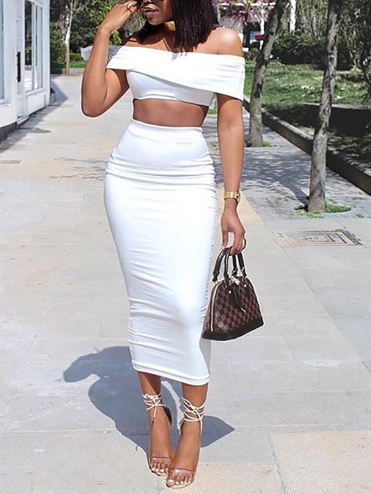 8ca59ffe1cb Solid Fold Over Bardot Top & Midi Skirts Set   outfits !   Pinterest ...