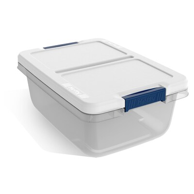 Hefty 3 75 Gallon 15 Quart Clear Tote With Latching Lid At Lowes Com Plastic Storage Totes Plastic Storage Tote Storage