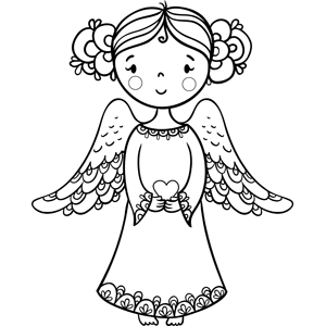 Angel Holding Heart Coloring Page Heart Coloring Pages Coloring Pages Bible Coloring Pages