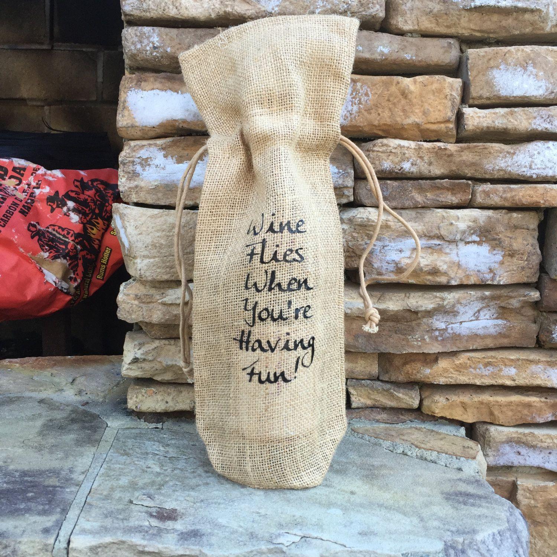 burlap wine bag, funny wine quote, burlap gift bag, free