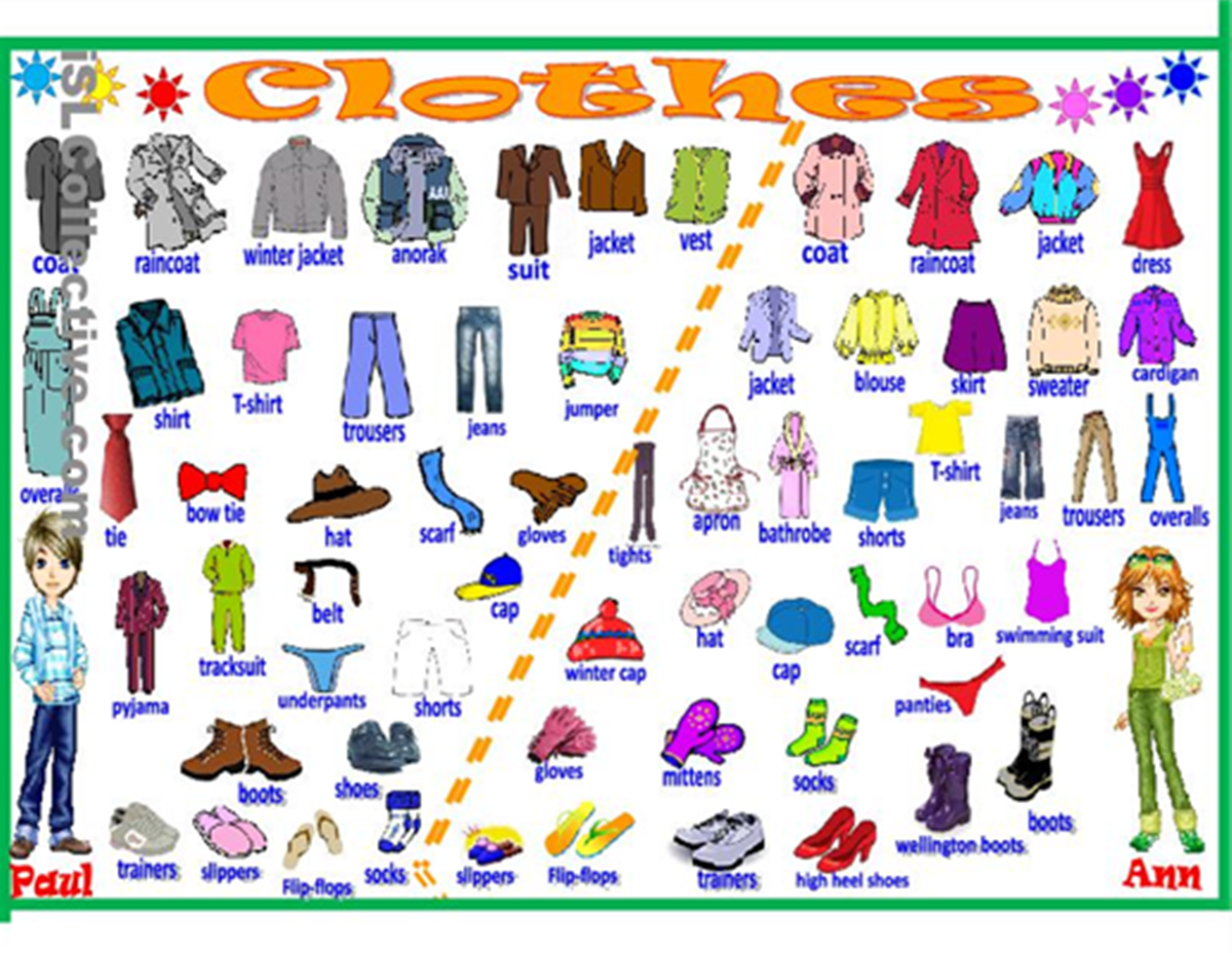 clothes accessories vocabulary esl teaching notes. Black Bedroom Furniture Sets. Home Design Ideas