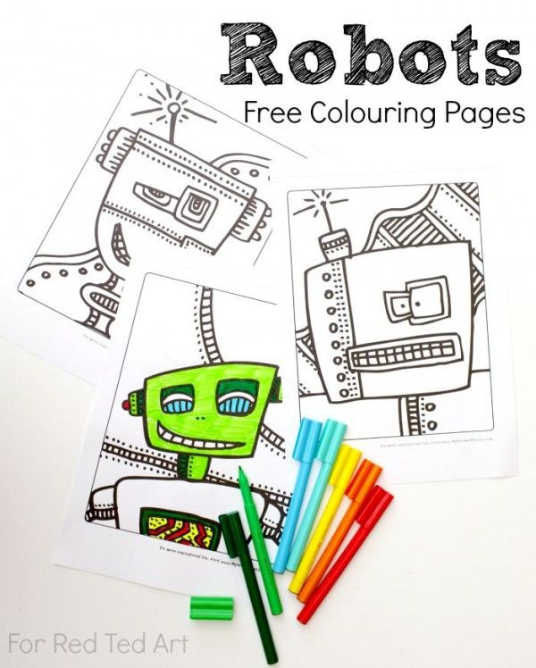 Free Robots Colouring Pages Red Ted Art Make Crafting With Kids Easy Fun Colouring Pages Coloring Pages For Boys Coloring Pages For Kids