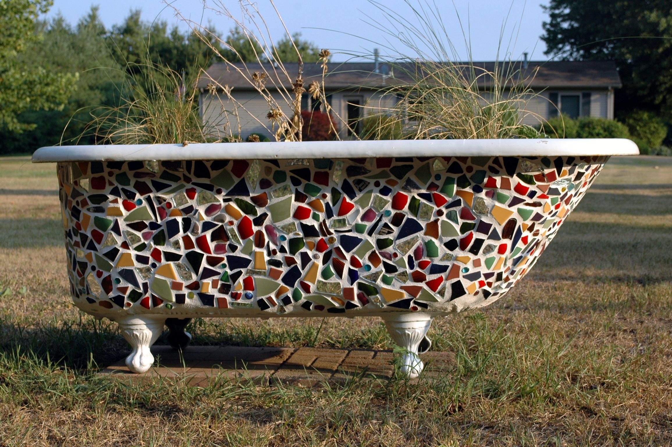 Claw Foot Tub To Mosaic Planter