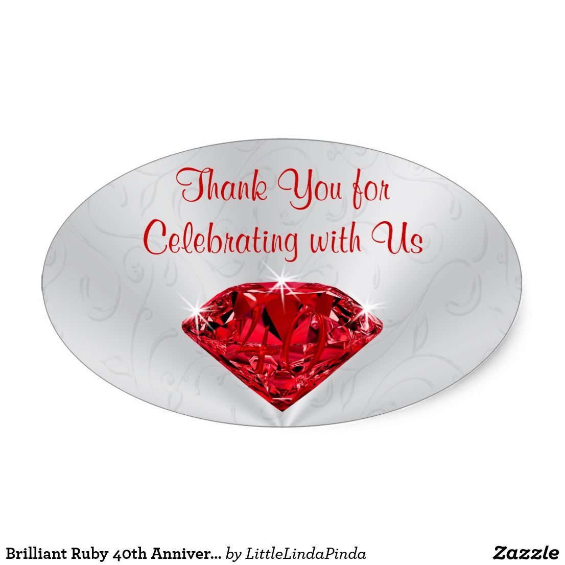 Brilliant Ruby 40th Anniversary Thank You Stickers
