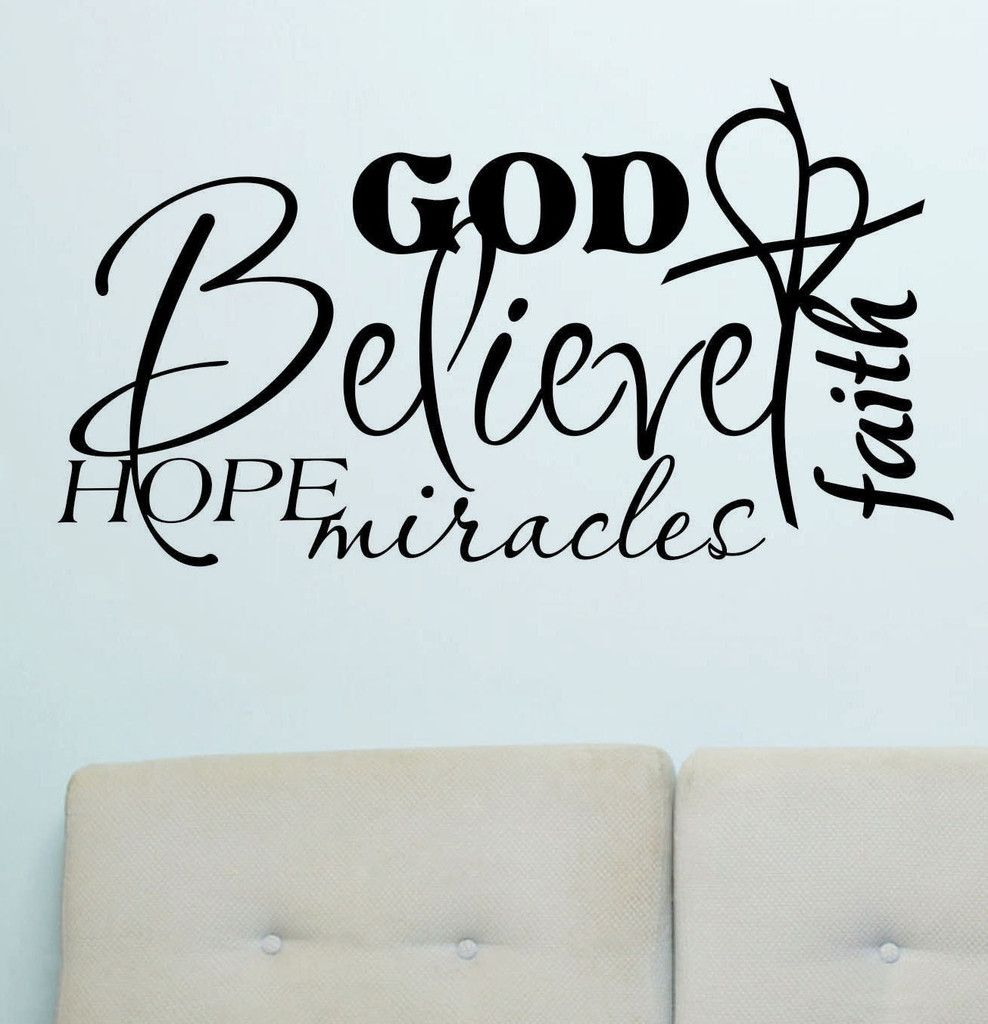 Vinyl lettering decals for crafts - Vinyl Wall Lettering Words Quotes Religious Decals Collage Believe