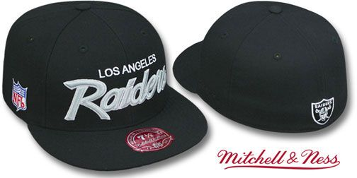 Raiders Throwback Team Script Black Fitted Hat By Mitchell Fitted Hats New Era Fitted Hats