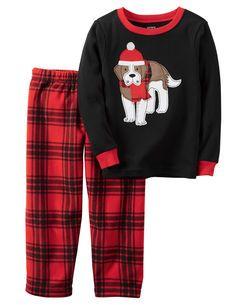 d2ae02c98 2-Piece Cotton Thermal & Fleece Christmas PJs   boy   Carters baby ...