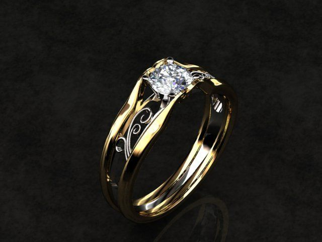 Custom Made Celtic Solitaire Diamond 14k Gold Engagement Ring