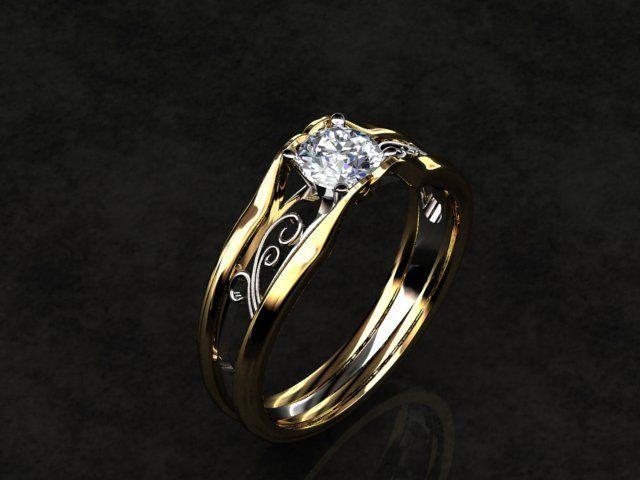 Custom Made Celtic Solitaire Diamond 14k Gold Engagement Ring