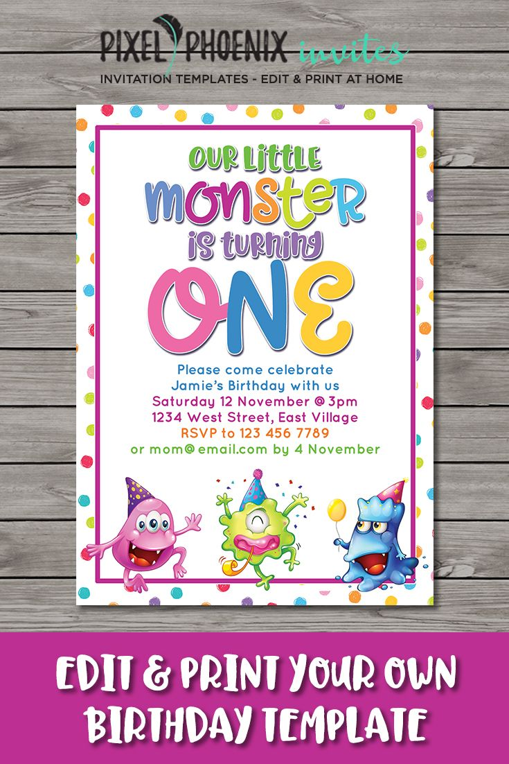 1st Birthday Invite Diy Invitation 1 Year Old Boy Or Girl Monster Party Diy Invite Diy T Old Birthday Cards Birthday Invitations Diy Birthday Invitations