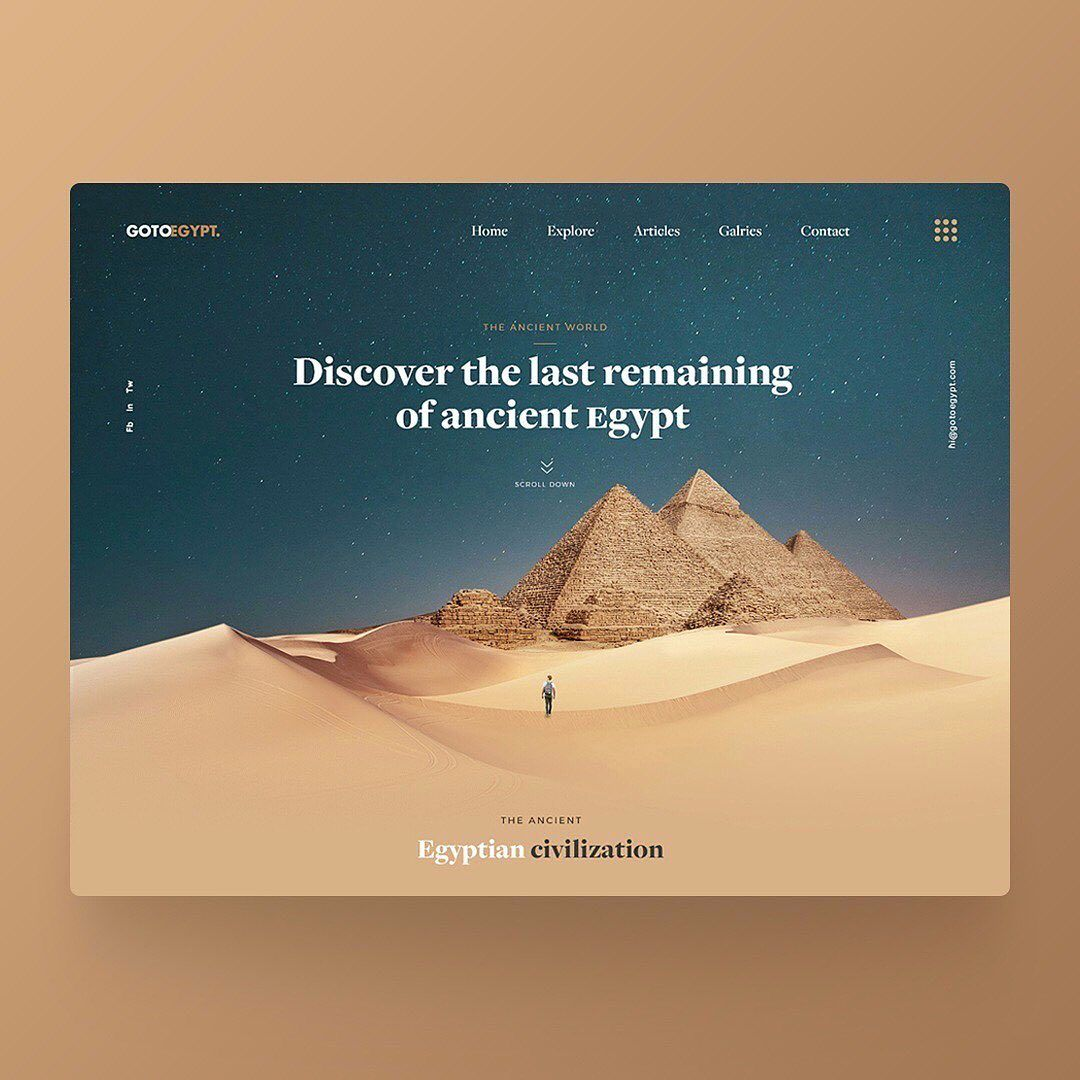Landing Page Design For Go To Egypt Have A Question Dm Us Follow Theuiuxcollective Fo Web Layout Design Web Design Inspiration Web Design