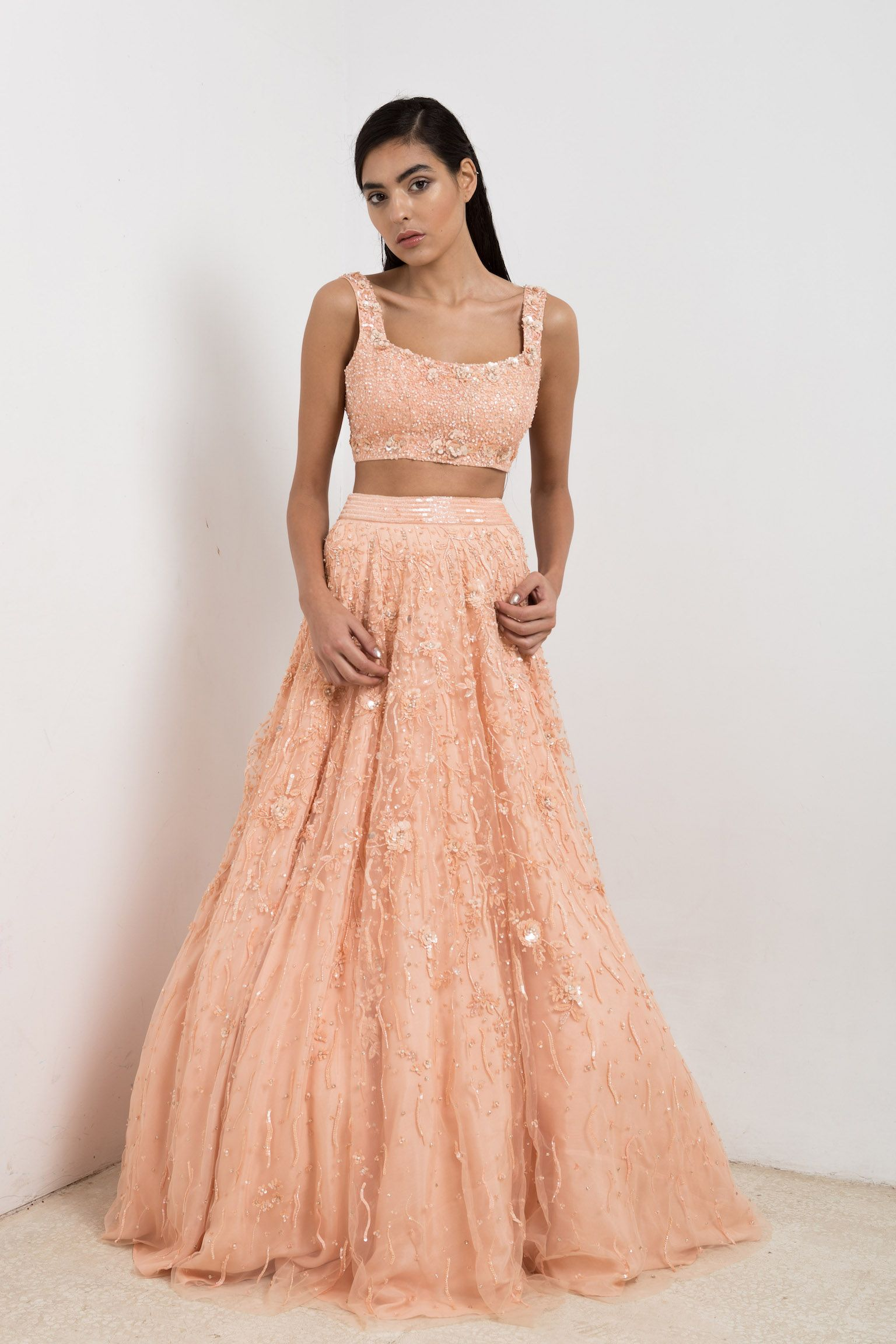 Peach bridal lehenga and crop top Ceremony dresses