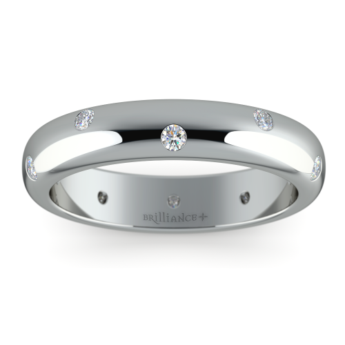Inset Diamond Wedding Ring In Platinum 4mm