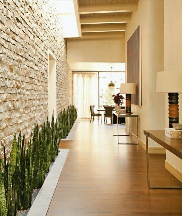 High Quality Stone Wall Designs With Plants In Hallway Interior