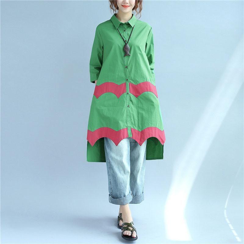 Women Vintage Casual Splicing Summer Irregular Green Shirt