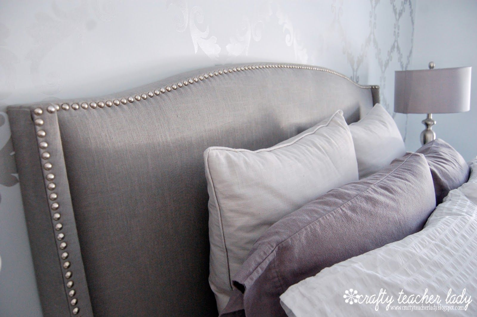 Upholstered Nailhead Trim Headboard Palermo Wingback Grey King Or Queen At Target 525 Total