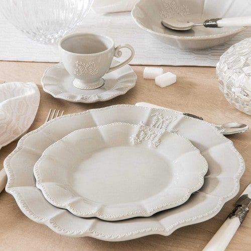 Assiette Plate En Faience Grise Bourgeoisie Assiettes Plates Vaisselle Blanche Assiette