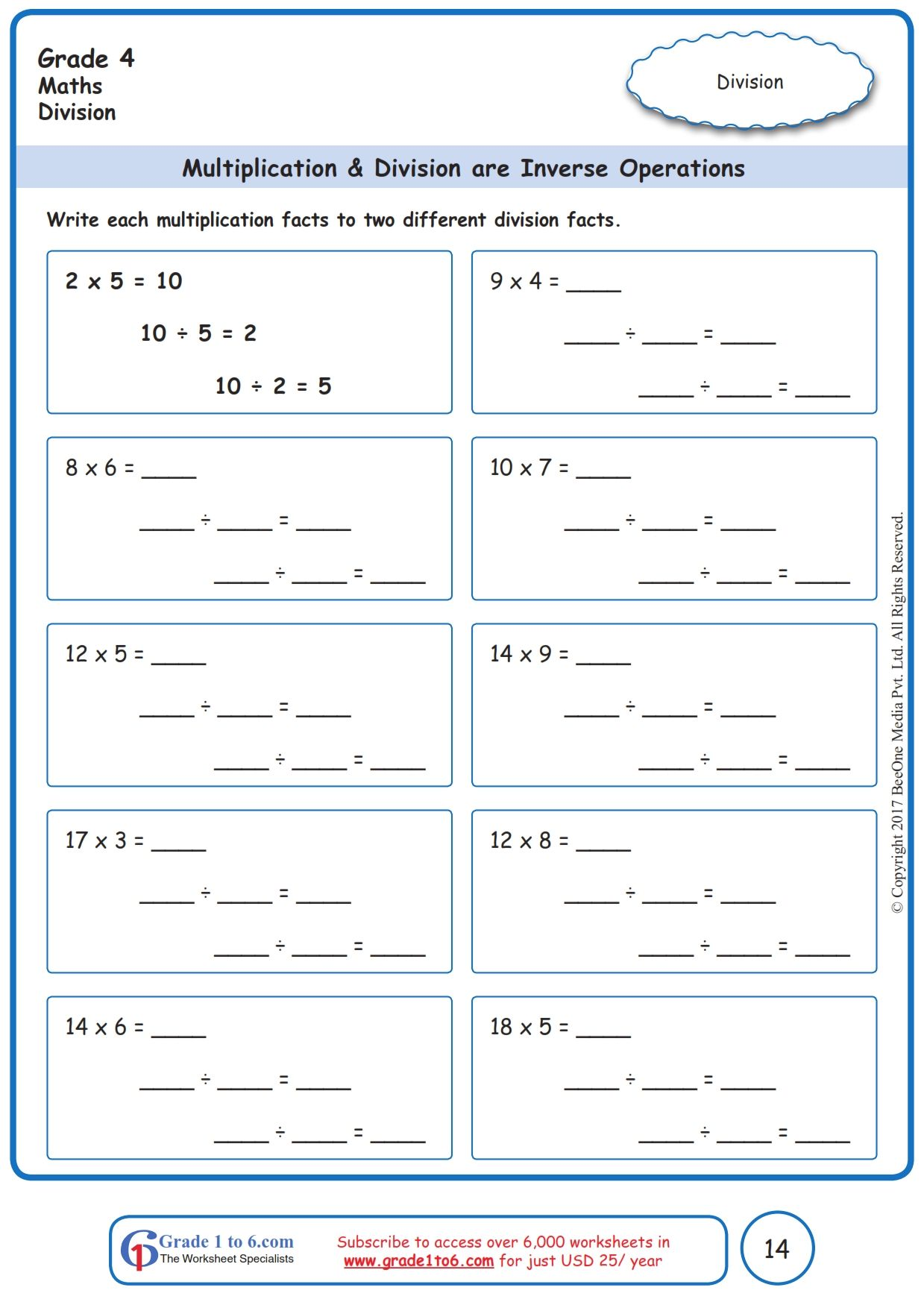 Free Math Worksheets For Grade 1 Through Grade 6