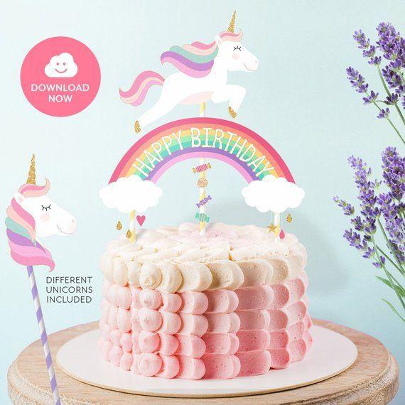 UNICORN GOLD Happy Birthday Cake Topper Printable Unicorn And Glitter