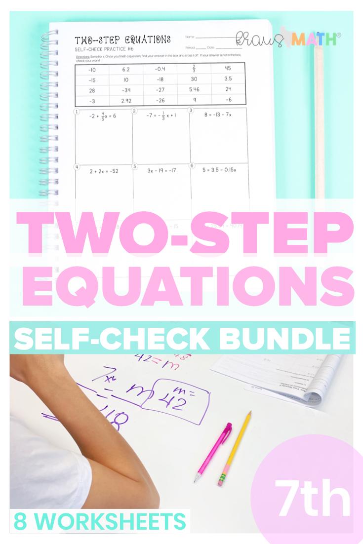 TwoStep Equations SELFCHECK Worksheet BUNDLE (7.11A