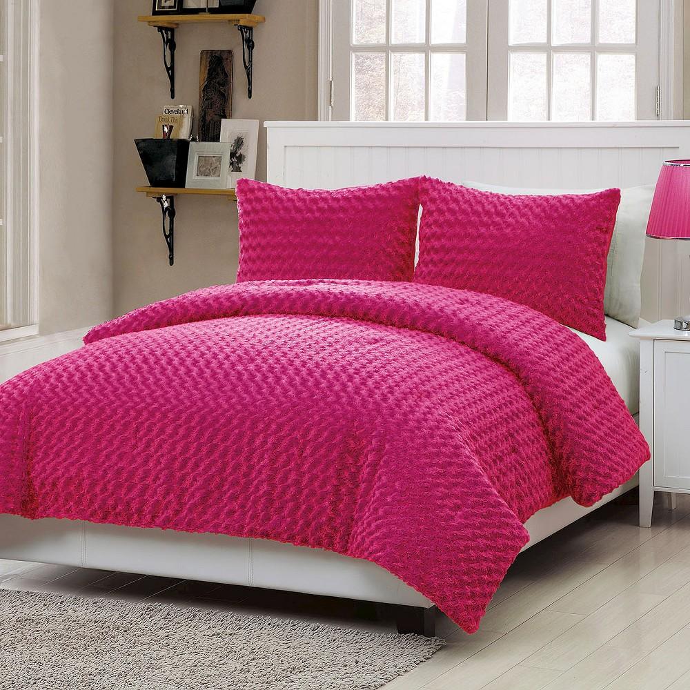 Pink Victoria Classics Rose Faux Fur Comforter Set Full 3pc Vcny