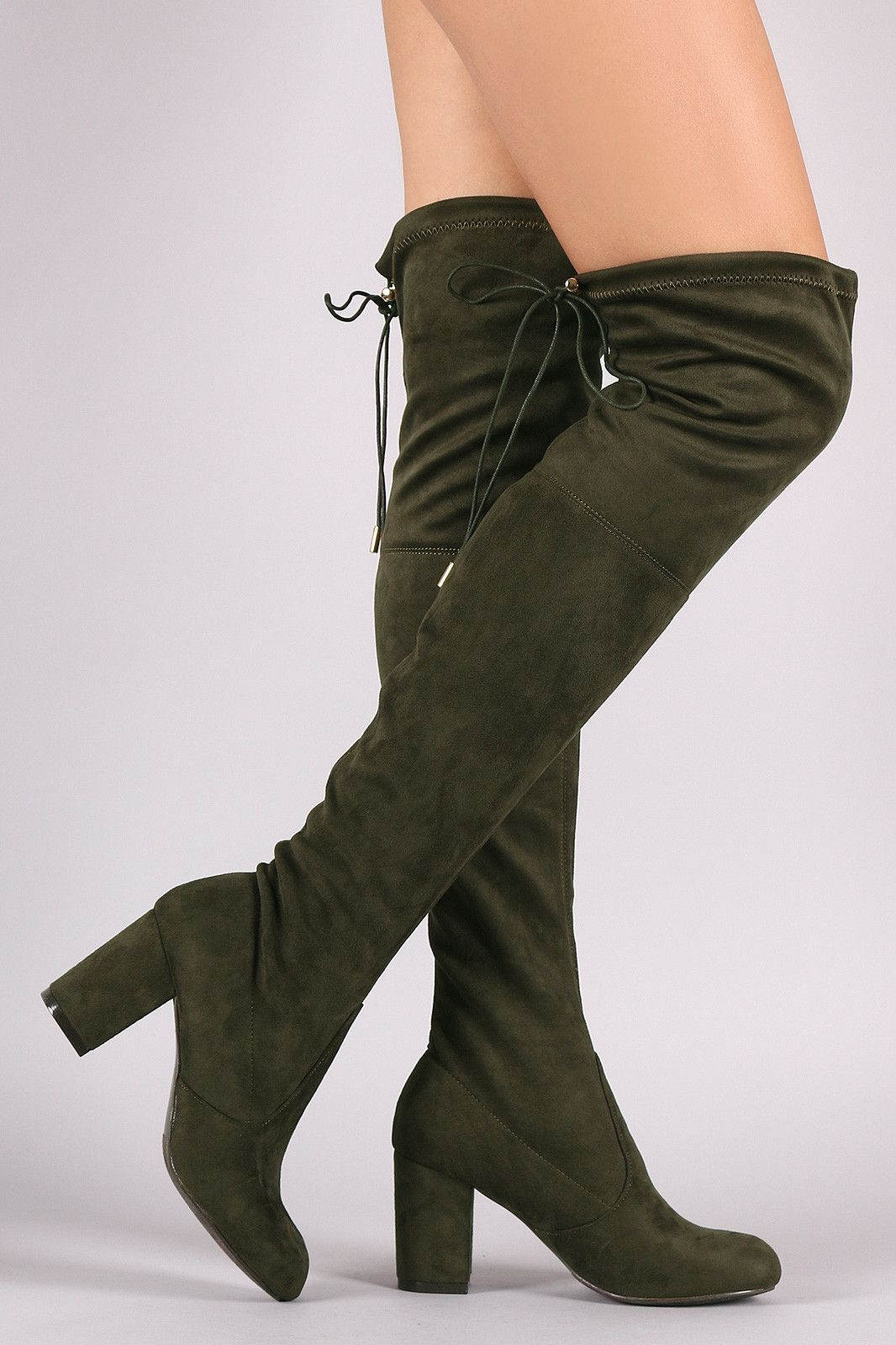 b2ceb0dee41d Suede Drawstring Tie Chunky Heeled Over-The-Knee Boots