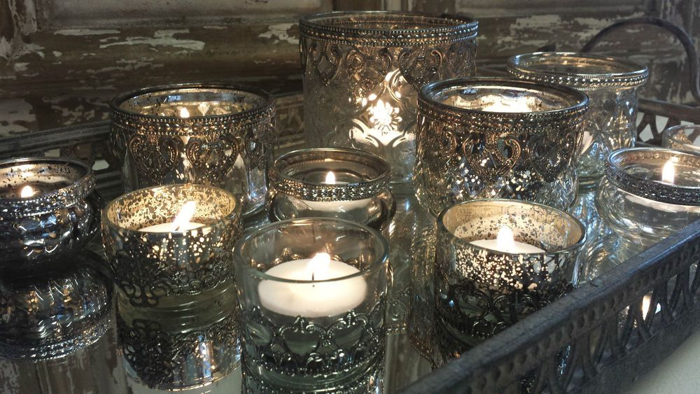 Vintage Antique Chic Silver Glass Tea Light Holders Candle Wedding Table Centre