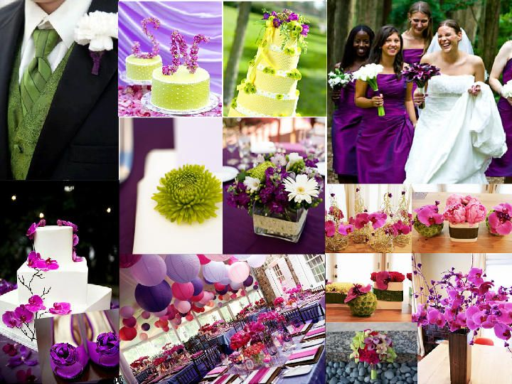 Lime green and purple wedding pictures