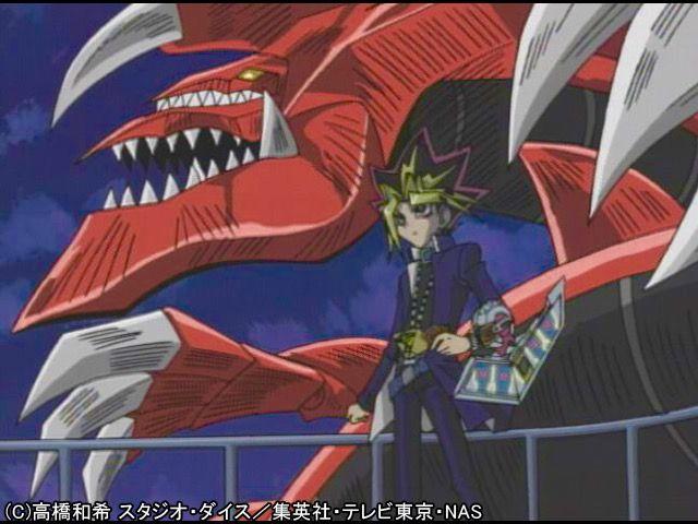 Yugi Muto Summoning Slifer The Sky Dragon For The First Time Against Bakura Yami Bakura During Battle City Yugioh Yami Battle City Anime Love