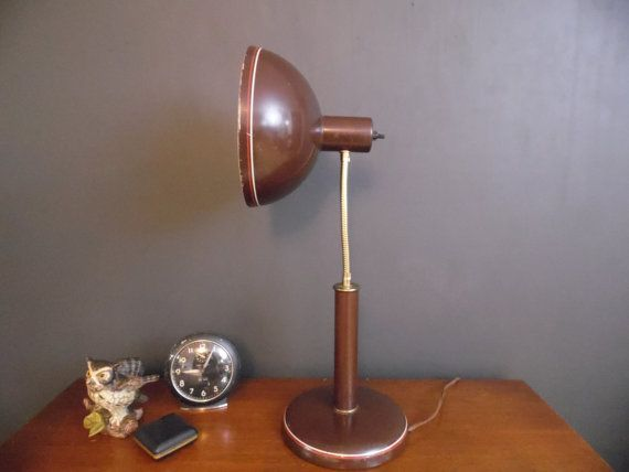 Modern 1970s Brown Metal Desk Lamp with Orange and by MadGirlRetro