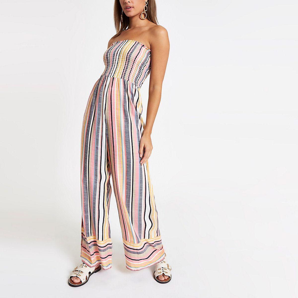 f3893ae52d1f7 Pink stripe bandeau shirred jumpsuit | Fashion | 2019 | Jumpsuit ...