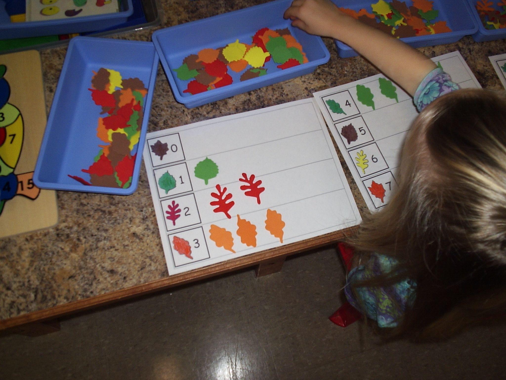 Fall Foam Leaf Counting Mats Fall Preschool Ideas