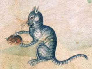 "A cat playing with a mouse - medieval illustration from ""The Lutterell Psalter"" - British Library, Additional MS 42130, Folio 190r"