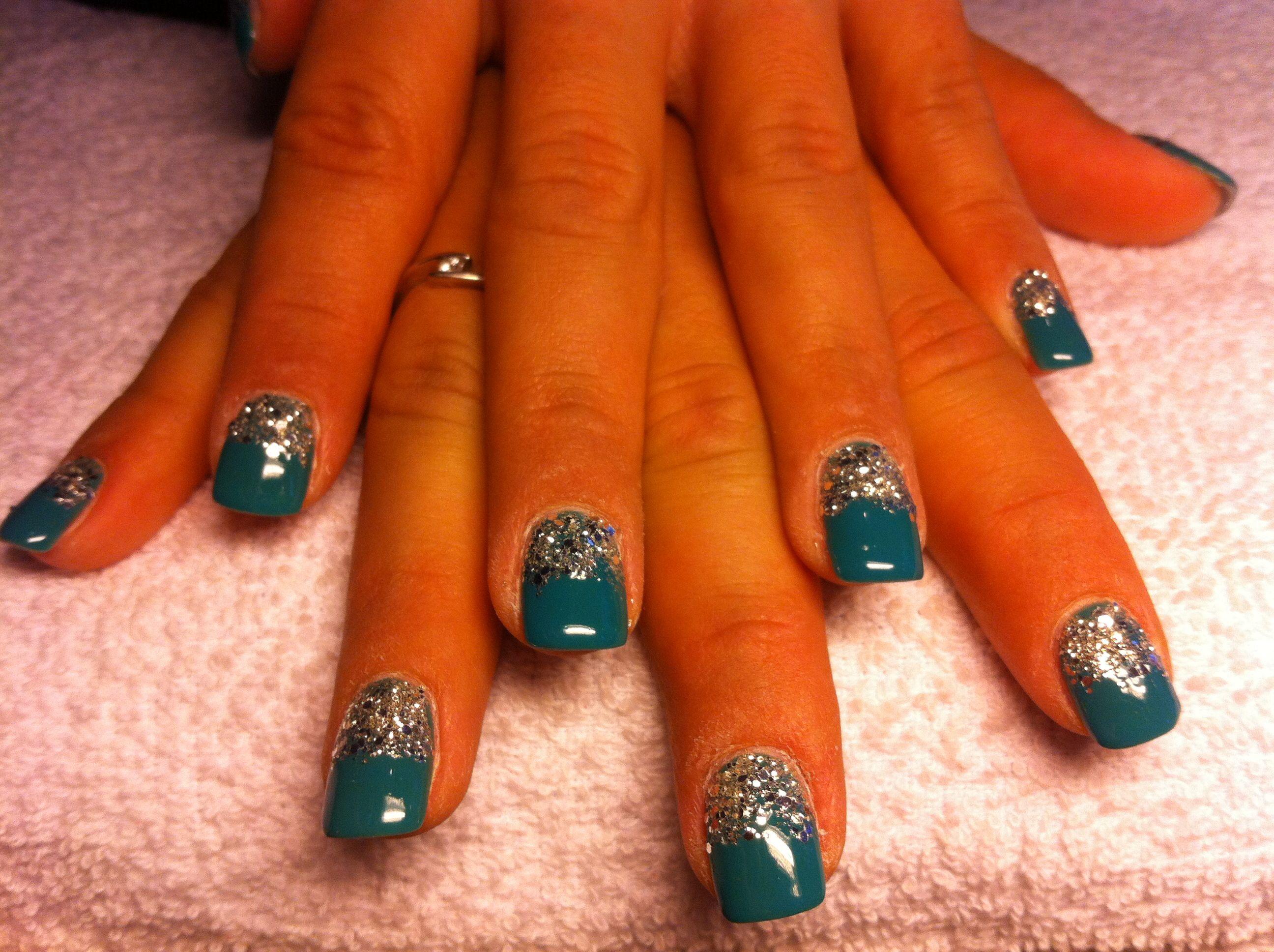 Gellak groen jade met silver glitter