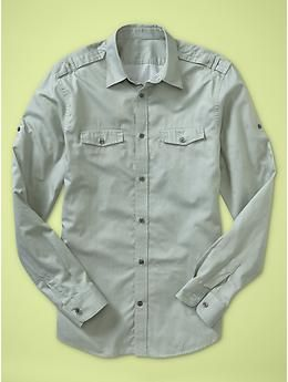 two pocket convertible sleeve shirt_slim fit {gap}