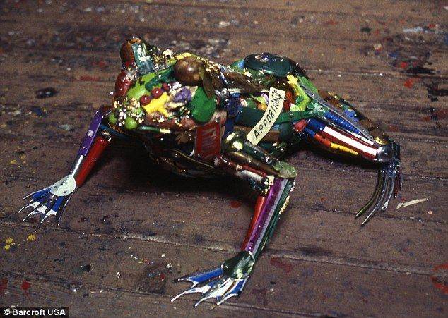 The Frog sculpture is moulded together using nuts, bolts and screws found on Leo's trawl through scrapheaps  Using any discarded plastic, ...