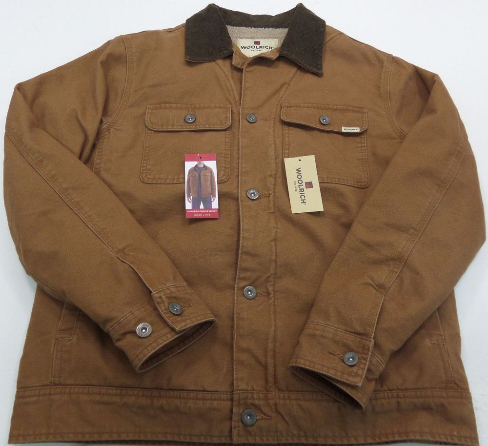 WOOLRICH Telluride Canvas Jacket Sherpa Lined Tobacco Mens Medium MSRP  127  TAO  Woolrich  CanvasJacket c441840cc56