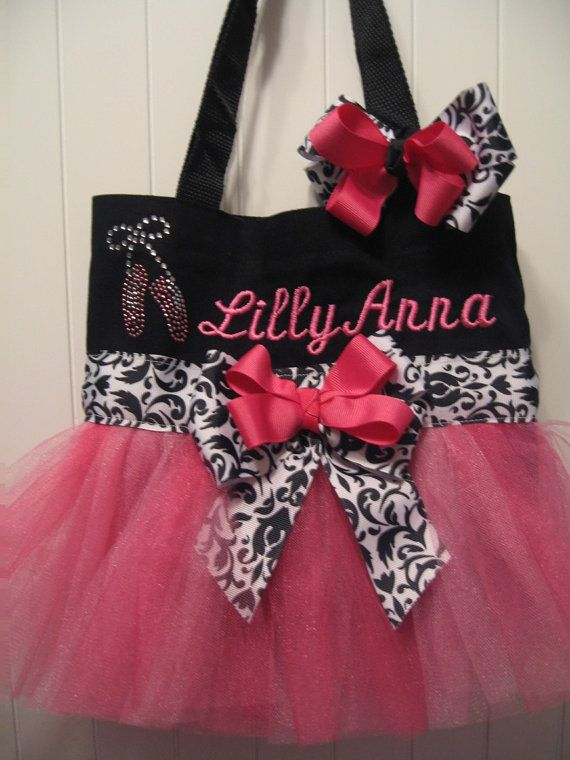 3dc2386a878d Embroidered Dance Bag - Mini Black and Pink Tutu Purse with ...