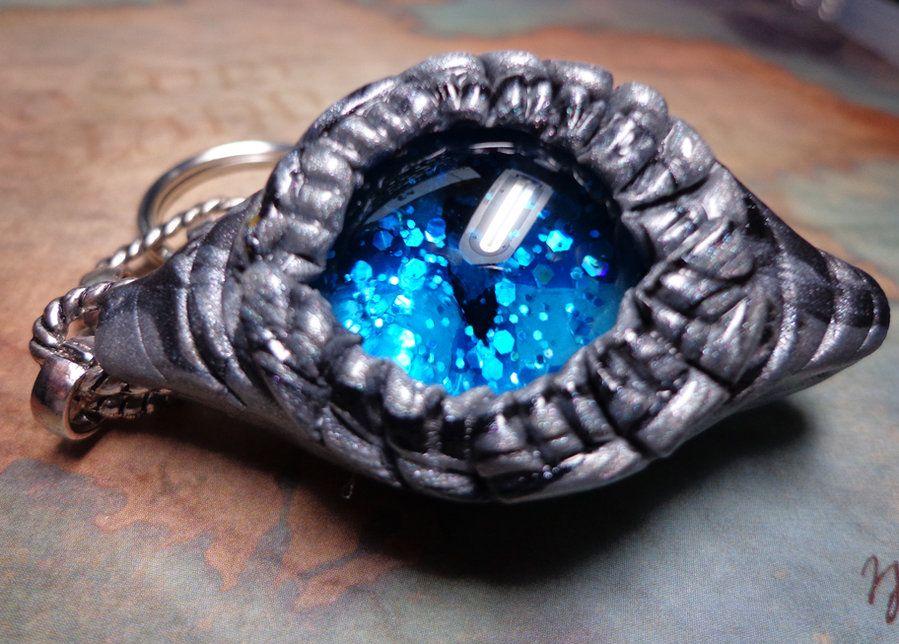 Silver and Black Dragon Eye Keychain by ~RaPVVNzel on deviantART