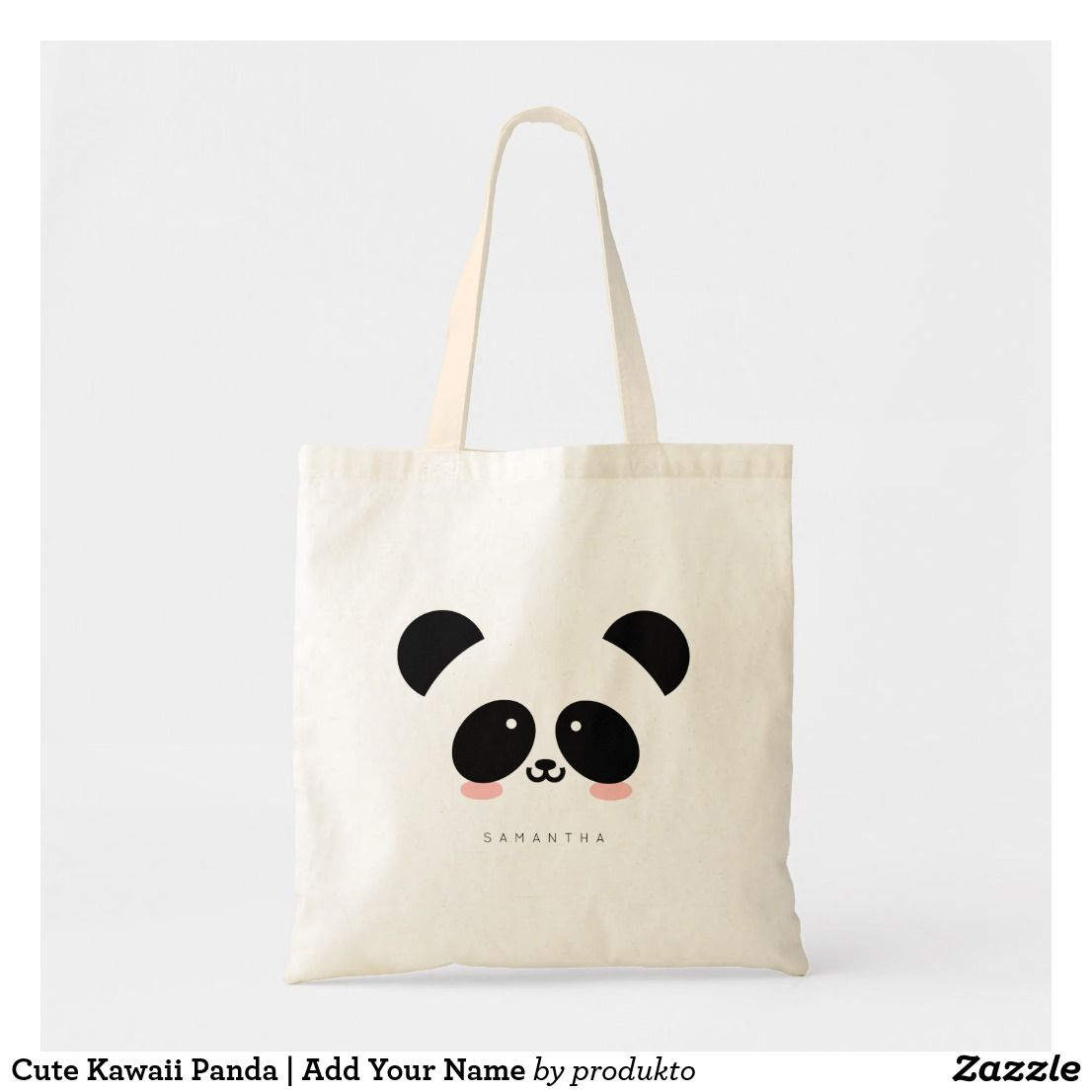 Cute Kawaii Panda Add Your Name Tote Bag