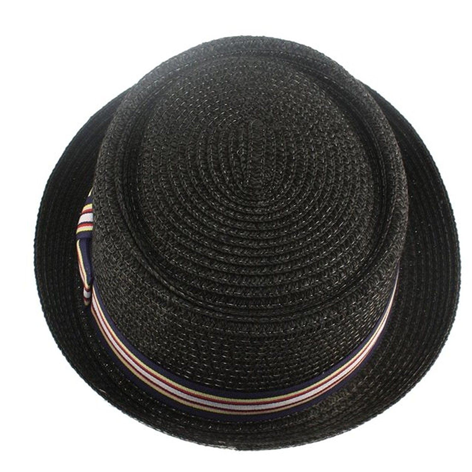97199cf05f3 Men s Fancy Summer Straw Pork Pie Derby Fedora Upturn Brim Hat ...