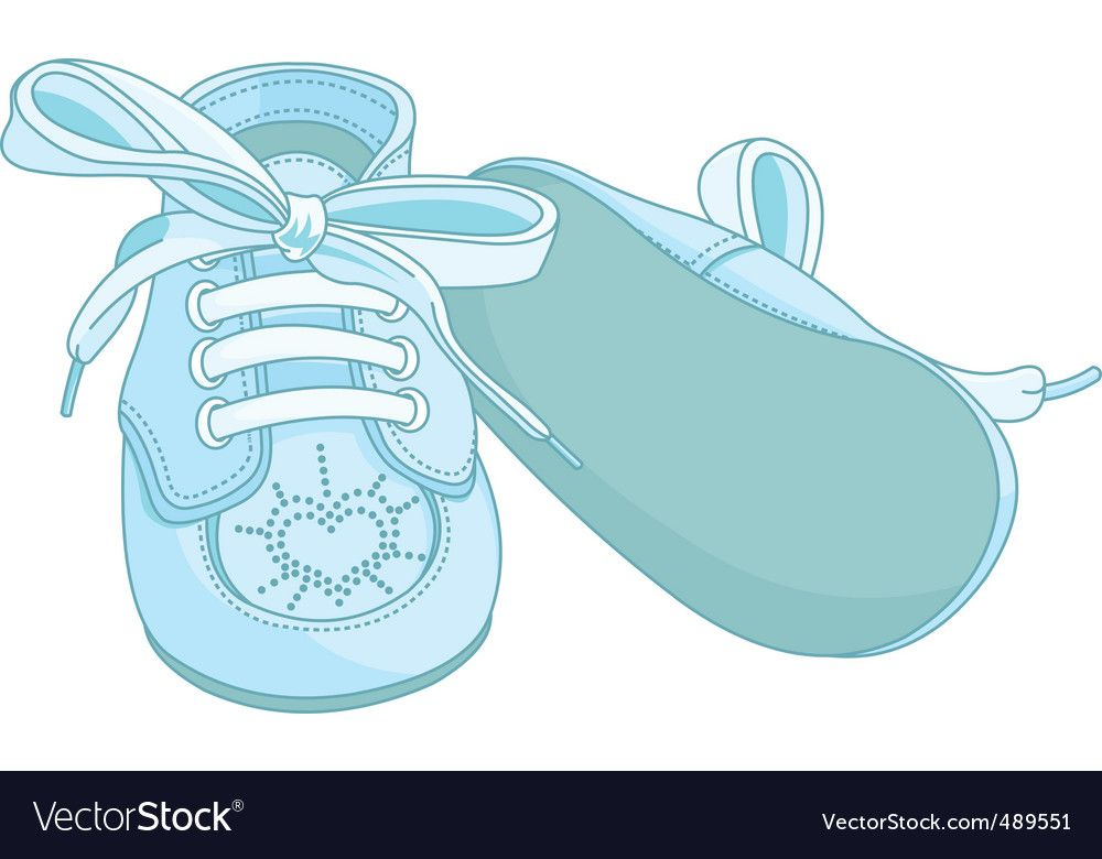 Blue Baby Shoes Vector Image On Vectorstock Baby Shower Shoes Baby Boy Shoes Free Baby Stuff