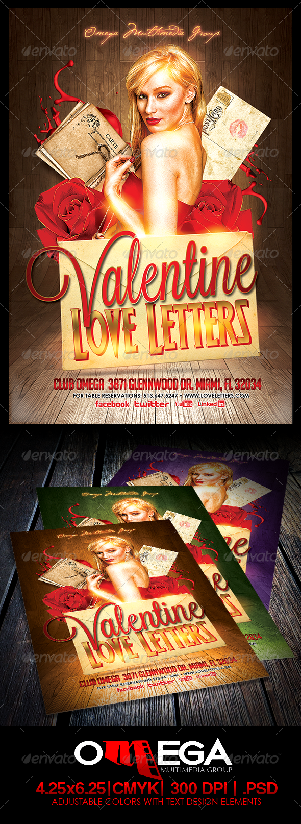 Valentine Love Letters — Photoshop PSD #roses #night • Available here → https://graphicriver.net/item/valentine-love-letters/6586464?ref=pxcr