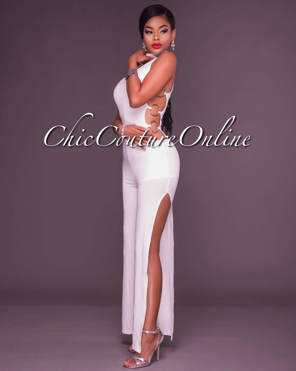 8fba390c8a2 Chic Couture Online - Dionne White Choker Silver Rings Jumpsuit