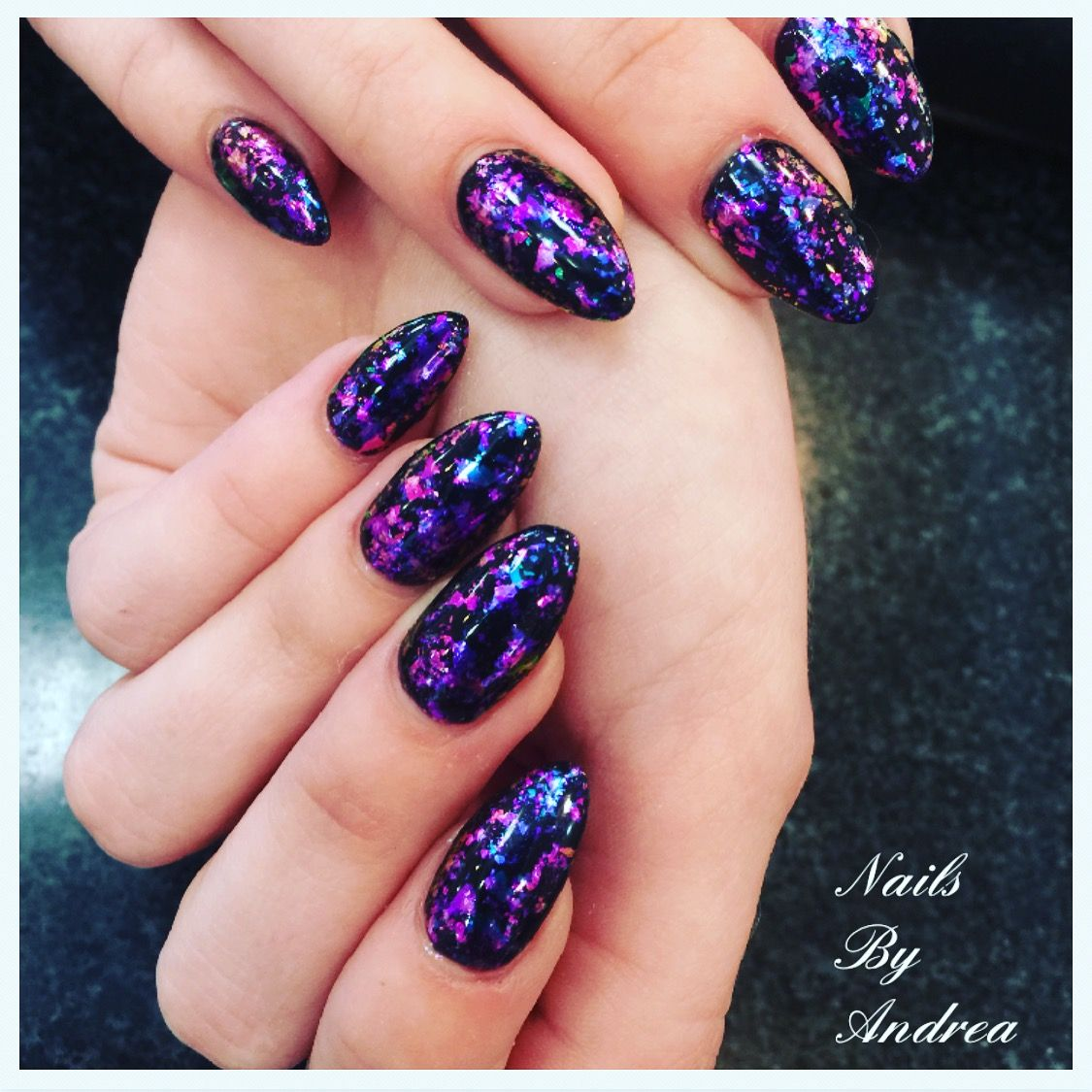 Chrome flakes nails | Purple nails