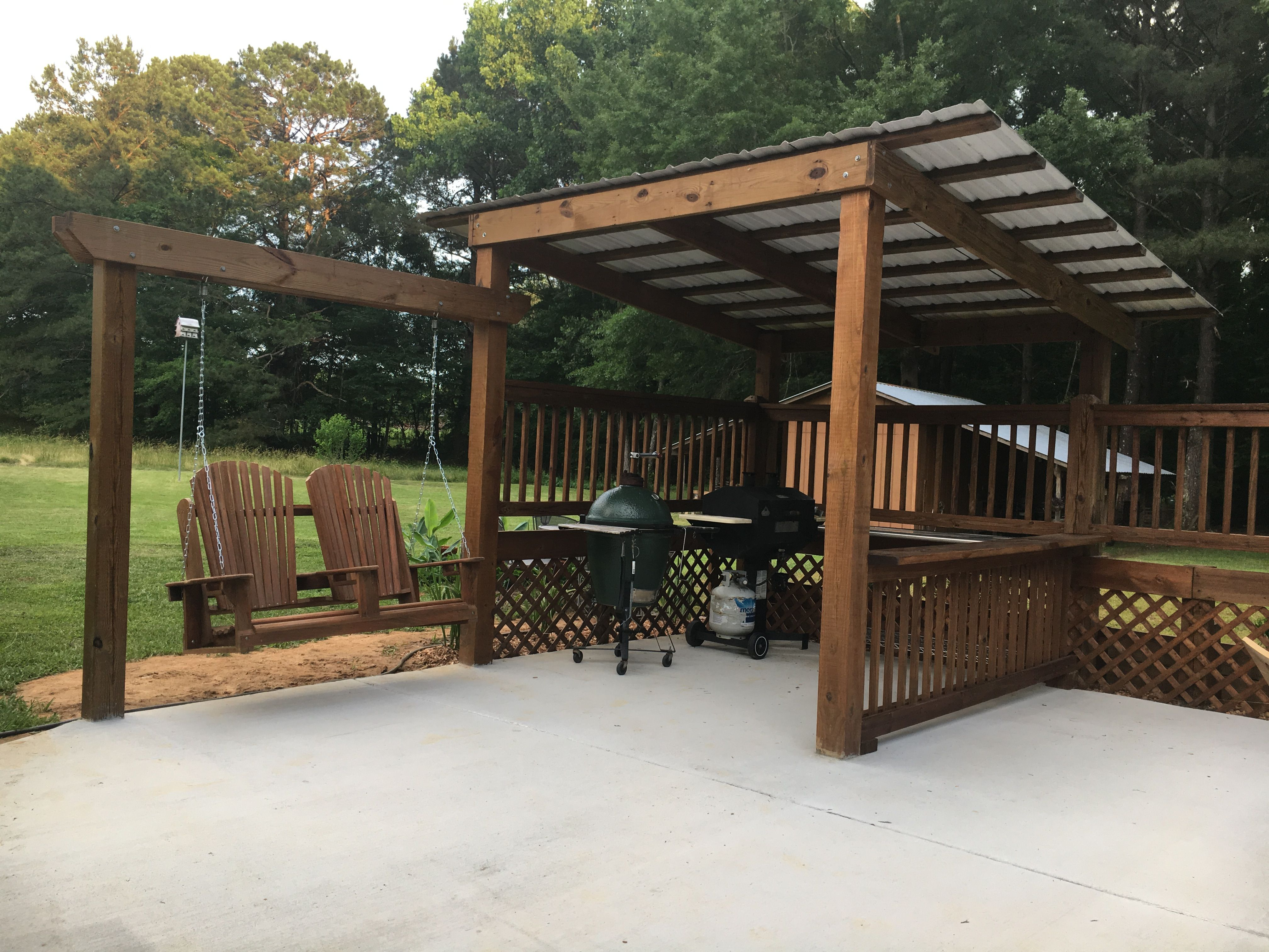 My husband Bruce created this beautiful grilling shed ...